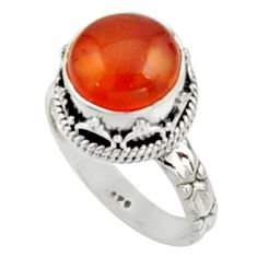 5.53cts natural orange cornelian 925 silver solitaire ring size 7 r9941