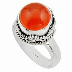 5.52cts natural cornelian (carnelian) 925 silver solitaire ring size 7.5 r9943