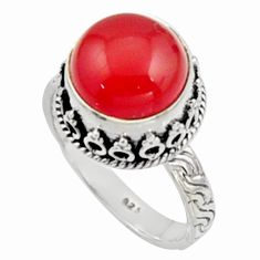 925 silver 6.32cts natural orange cornelian round solitaire ring size 9 r9945