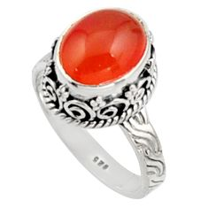 5.12cts natural orange cornelian 925 silver solitaire ring size 7.5 r9946
