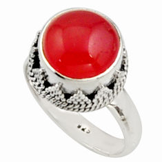 6.08cts natural orange cornelian 925 silver solitaire ring size 8 r9947