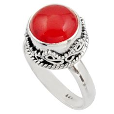 5.93cts natural orange cornelian 925 silver solitaire ring size 9 r9948