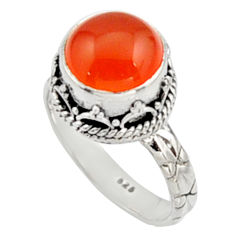 5.75cts natural orange cornelian 925 silver solitaire ring size 8.5 r9949