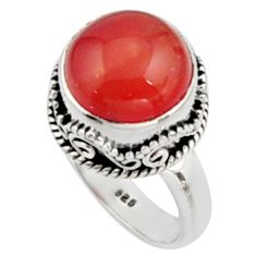 5.93cts natural orange cornelian 925 silver solitaire ring size 7 r9952
