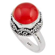 6.09cts natural cornelian (carnelian) 925 silver solitaire ring size 7 r9953