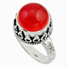 925 silver 6.33cts natural cornelian (carnelian) solitaire ring size 7 r9956