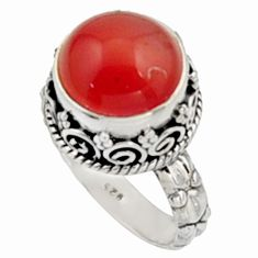 5.95cts natural orange cornelian 925 silver solitaire ring size 7 r9958