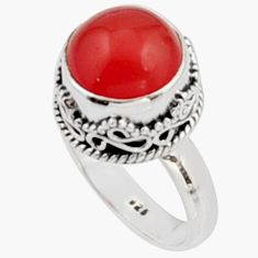 5.75cts natural orange cornelian (carnelian) silver solitaire ring size 7 r9960