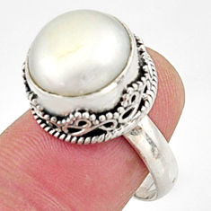 925 sterling silver 11.54cts natural white pearl solitaire ring size 7.5 r9964