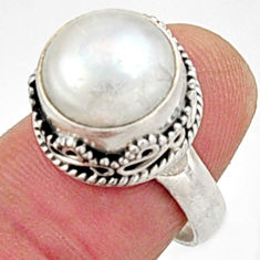 6.80cts natural white pearl 925 sterling silver solitaire ring size 7 r9967