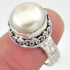 7.38cts natural white pearl 925 sterling silver solitaire ring size 7.5 r9975
