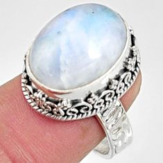 9.90cts natural rainbow moonstone 925 silver solitaire ring jewelry size 8 r9982