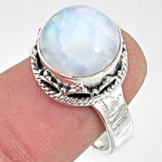 6.08cts natural rainbow moonstone round 925 silver solitaire ring size 7.5 r9987