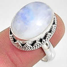 11.54cts natural rainbow moonstone 925 silver solitaire ring size 8 r9993