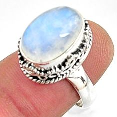 5.01cts natural rainbow moonstone 925 silver solitaire ring jewelry size 7 r9999