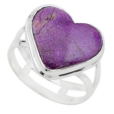 8.51cts solitaire natural purple purpurite stichtite silver ring size 9 t15596