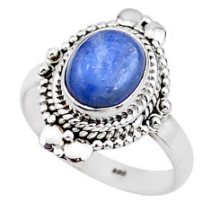 4.02cts solitaire natural blue kyanite 925 sterling silver ring size 8.5 t15629