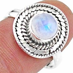 2.41cts solitaire natural rainbow moonstone 925 silver ring size 8 t15737