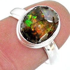 925 silver 4.84cts solitaire natural ammolite (canadian) oval ring size 7 t18980