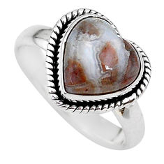 Heart natural mexican laguna lace agate rough 925 silver ring size 8 t21684