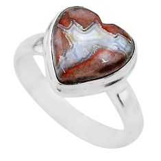 3.94cts heart mexican laguna lace agate silver handmade ring size 6 t21799