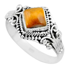 1.36cts solitaire natural brown tiger's eye 925 silver ring size 9 t3602