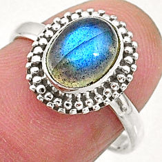 2.86cts natural blue labradorite 925 sterling silver solitaire ring size 7 t5090