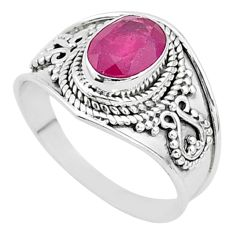 2.09cts solitaire natural red ruby 925 sterling silver ring size 7.5 t5141