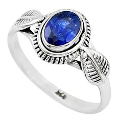 925 sterling silver 1.57cts solitaire natural blue sapphire ring size 8 t5457