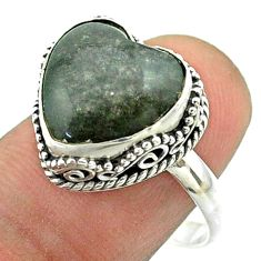 6.31cts solitaire natural golden sheen black obsidian silver ring size 9 t55902