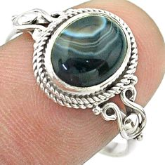 4.09cts solitaire natural black botswana agate 925 silver ring size 8.5 t57465