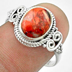 925 silver 3.94cts solitaire natural red snakeskin jasper ring size 8 t57500