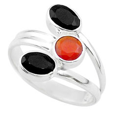 Clearance Sale- 3.31cts halloween natural onyx cornelian silver adjustable ring size 9.5 t57677