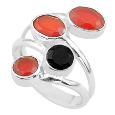 4.52cts halloween natural cornelian onyx silver adjustable ring size 6.5 t57873