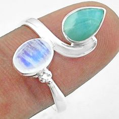 925 silver 3.94cts natural rainbow moonstone larimar ring size 8.5 t58000