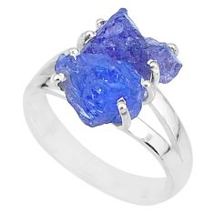 8.80cts solitaire natural blue tanzanite raw fancy silver ring size 8 t6926