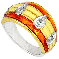 Victorian natural diamond enamel 925 silver 14k gold band ring size 8 v1184