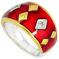 Victorian natural diamond golden enamel 925 silver gold band ring size 7 v1198