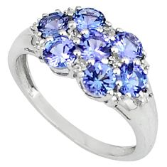 2.82cts vintage natural diamond blue tanzanite 925 silver ring size 7.5 v1888