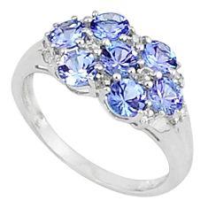 2.81cts vintage natural diamond blue tanzanite 925 silver ring size 7.5 v1891