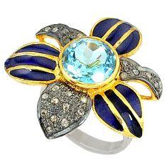 5.74cts estate natural diamond blue topaz 925 silver 14k gold ring size 8 v1900