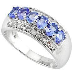 3.05cts estate natural diamond blue tanzanite 925 silver ring size 7.5 v1942