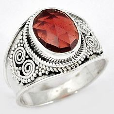AMAZING NATURAL RED RHODOLITE OVAL CUT 925 STERLING SILVER RING SIZE 9 H43572
