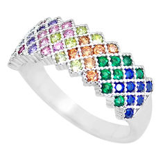 1.91cts amethyst emerald (lab) 925 silver infinity band ring size 8.5 c3315