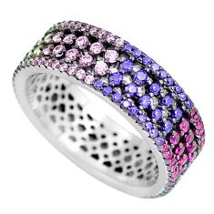 1.91cts amethyst emerald (lab) 925 silver infinity band ring size 6.5 c3336