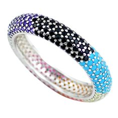 1.66cts amethyst turquoise 925 sterling silver infinity band ring size 6 c3325