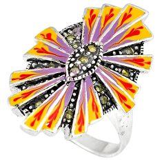 Art deco marcasite multi color enamel 925 sterling silver ring size 7.5 h52359