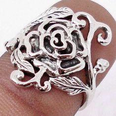 4.44gms ATTRACTIVE ROSE FLOWER WITH LEAF 925 SILVER RING JEWELRY SIZE 6 H9503