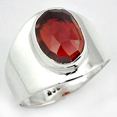 AWESOME NATURAL RED RHODOLITE OVAL 925 STERLING SILVER RING SIZE 8 H43565