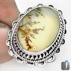 AWESOME NATURAL SCENIC RUSSIAN DENDRITIC AGATE 925 SILVER RING SIZE 7.5 G28869